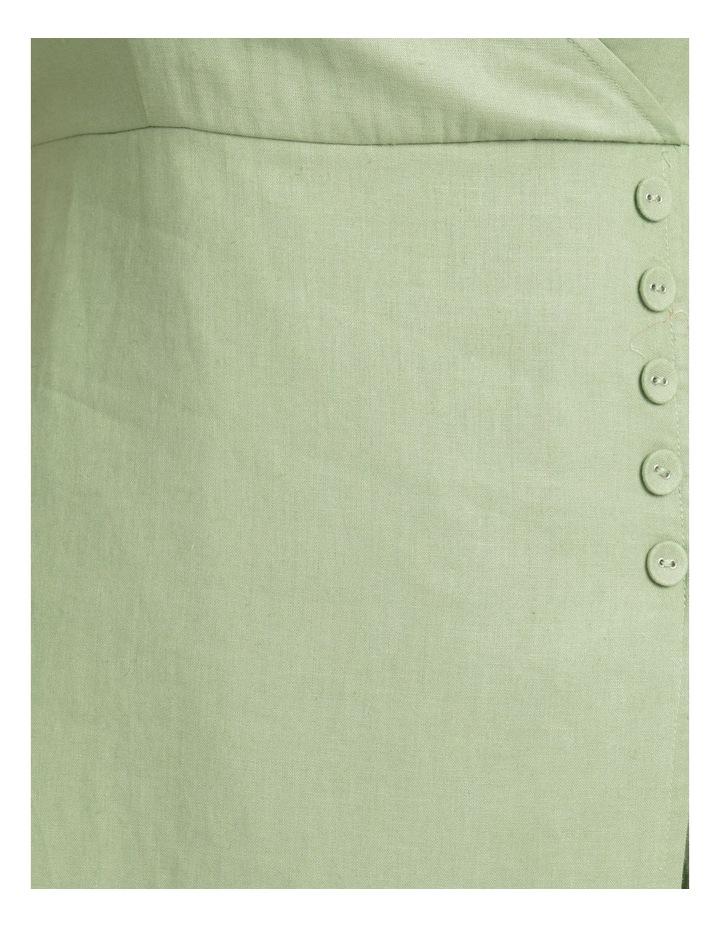 Button Detail Linen Blend Midi Dress Summer Green image 7