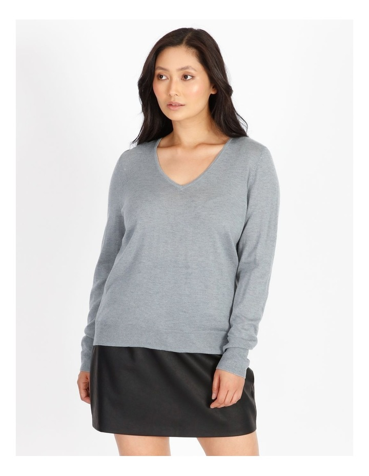 Relaxed V-Neck Wool Blend Knit Top image 1