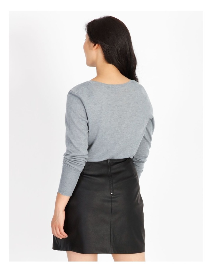 Relaxed V-Neck Wool Blend Knit Top image 3