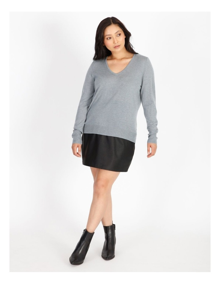 Relaxed V-Neck Wool Blend Knit Top image 4
