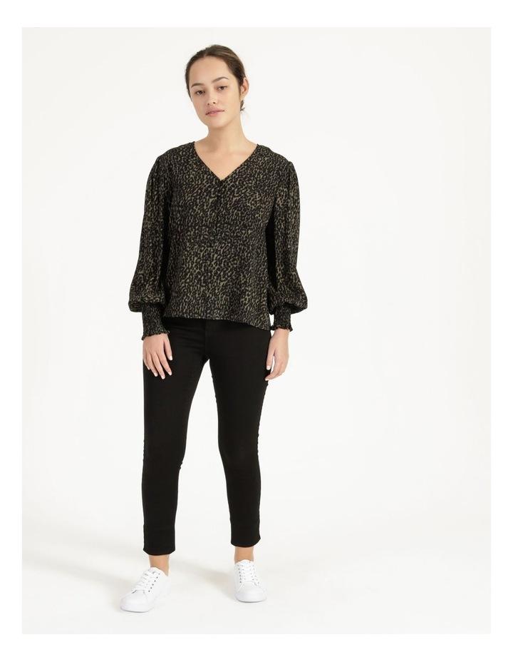 Petite Leopard Print V-Neck Long Sleeve Top Khaki image 1