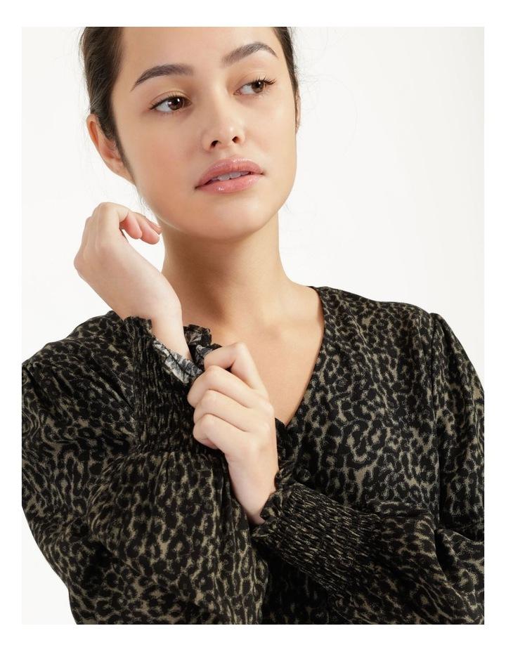 Petite Leopard Print V-Neck Long Sleeve Top Khaki image 2
