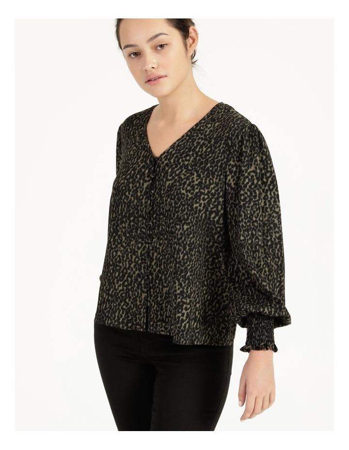 Petite Leopard Print V-Neck Long Sleeve Top Khaki image 3