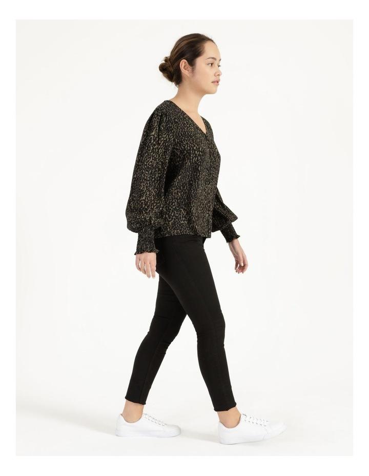 Petite Leopard Print V-Neck Long Sleeve Top Khaki image 4