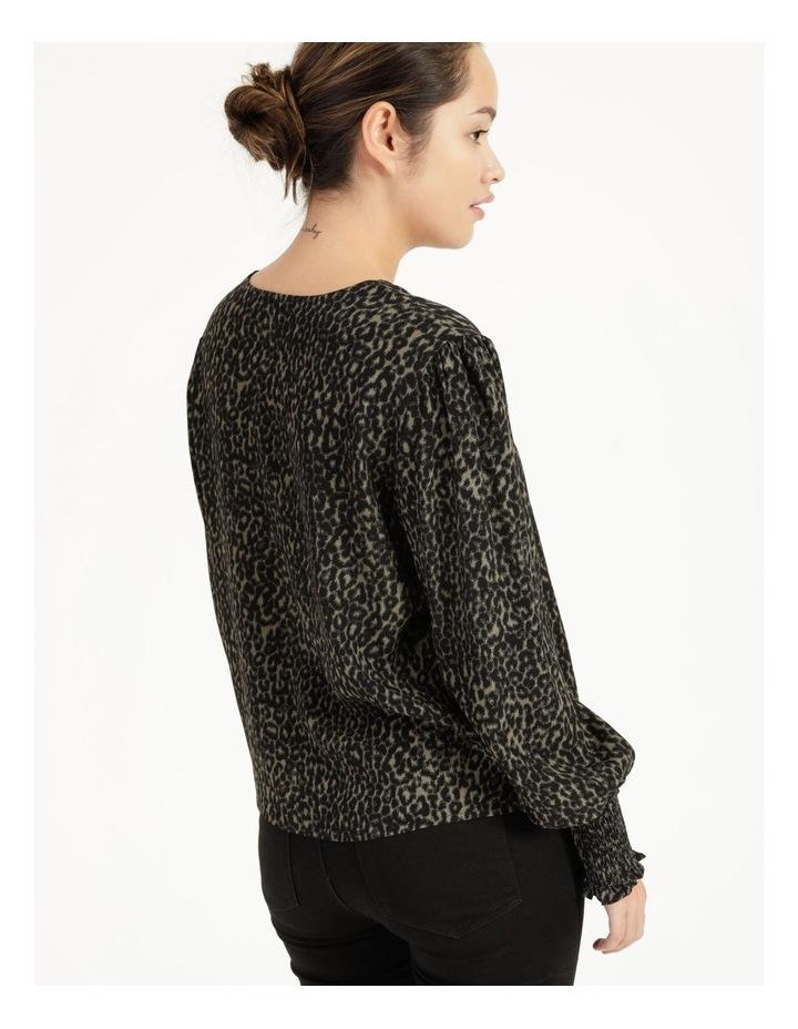 Petite Leopard Print V-Neck Long Sleeve Top Khaki image 5