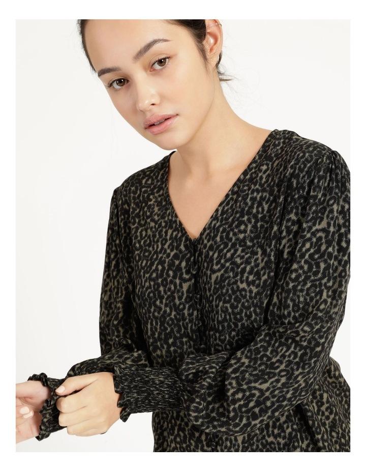 Petite Leopard Print V-Neck Long Sleeve Top Khaki image 6