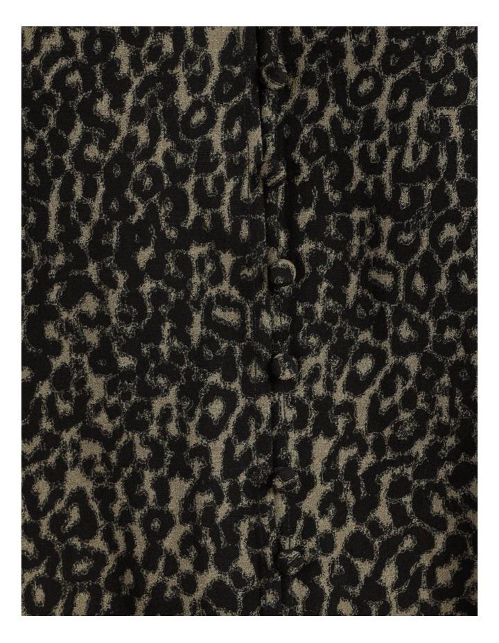Petite Leopard Print V-Neck Long Sleeve Top Khaki image 7