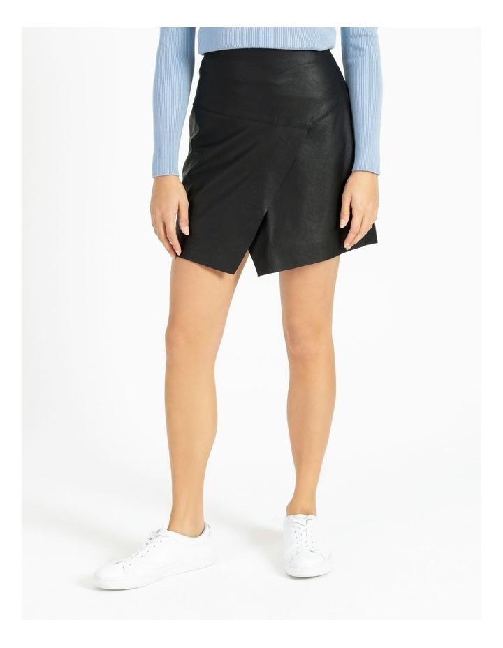 Faux Leather Asymmetrical Mini Skirt image 1