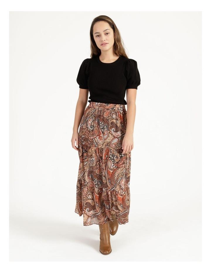 Petites Elastic Waist Tiered Midi Skirt image 1