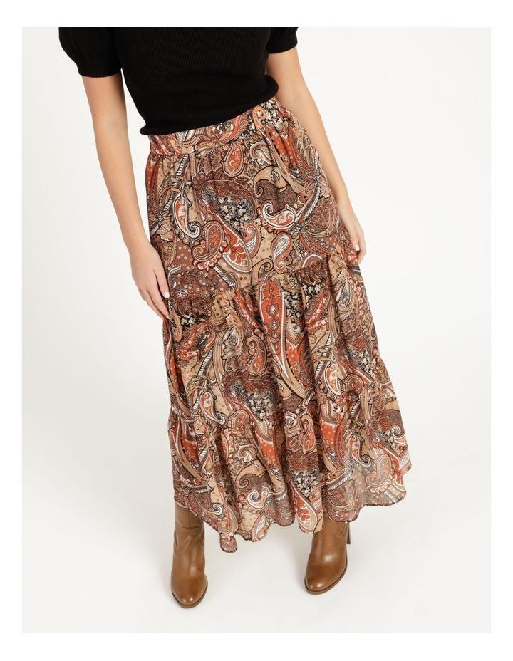 Petites Elastic Waist Tiered Midi Skirt image 2
