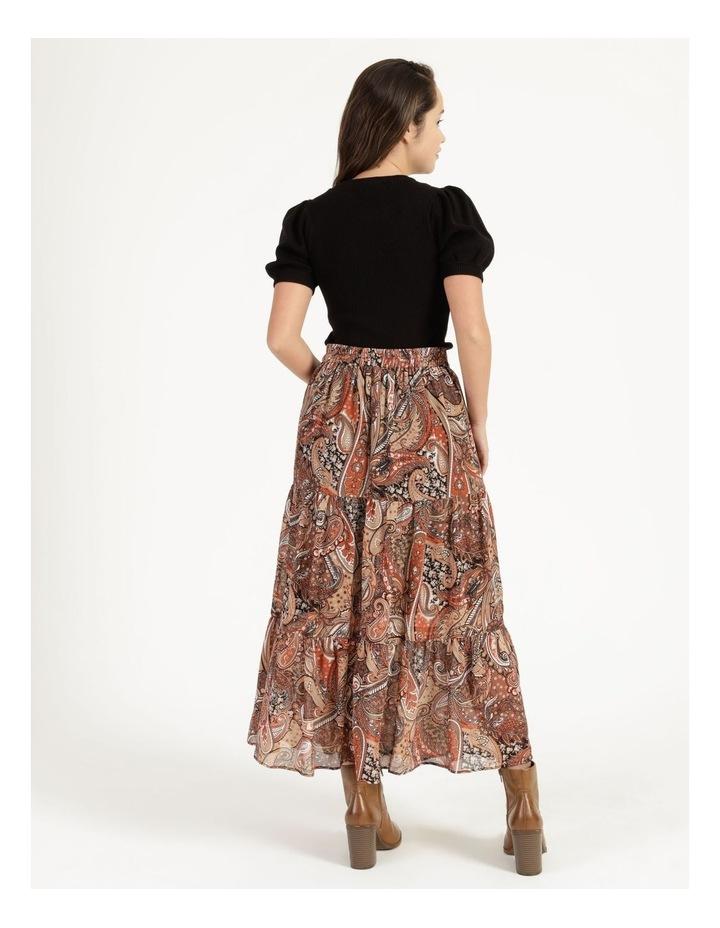 Petites Elastic Waist Tiered Midi Skirt image 4