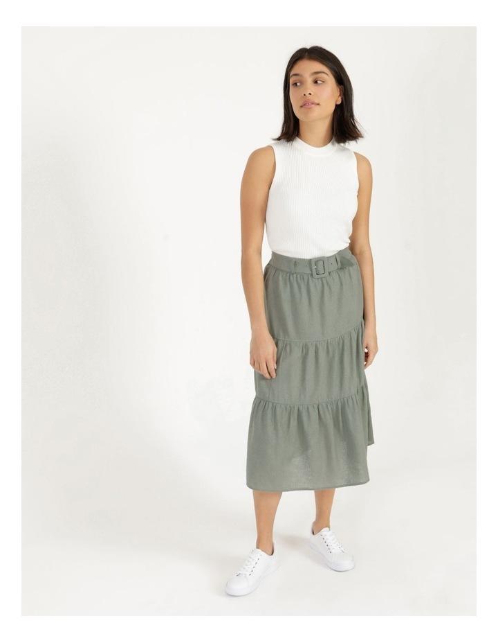 Linen Blend Tiered Midi Skirt image 2