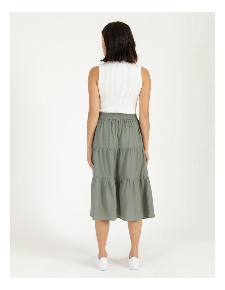 Linen Blend Tiered Midi Skirt image 6