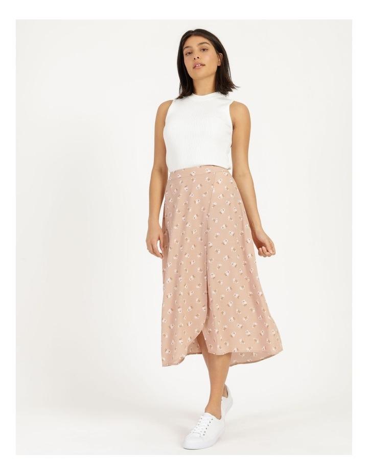 Aline Blush Bouquet Printed Wrap Midi Skirt image 1
