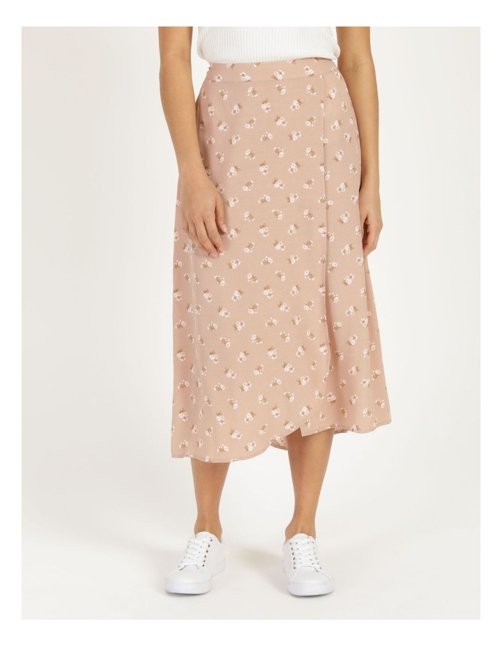 Aline Blush Bouquet Printed Wrap Midi Skirt image 3