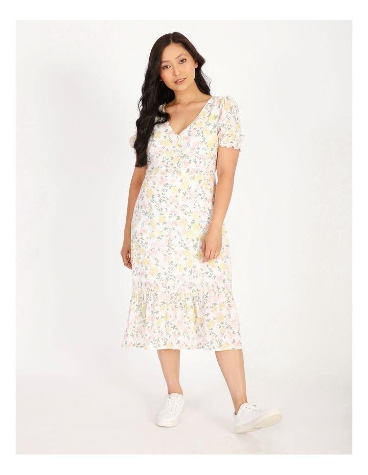 Petite Puff Sleeve Tea Dress image 1