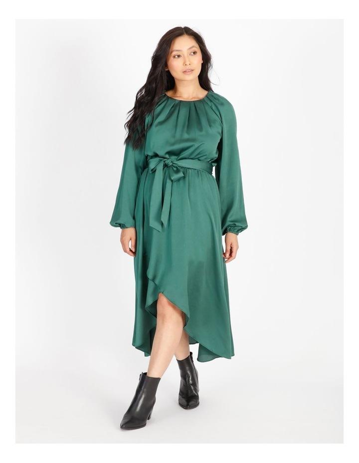 Petite Satin Wrap Midi Dress image 1