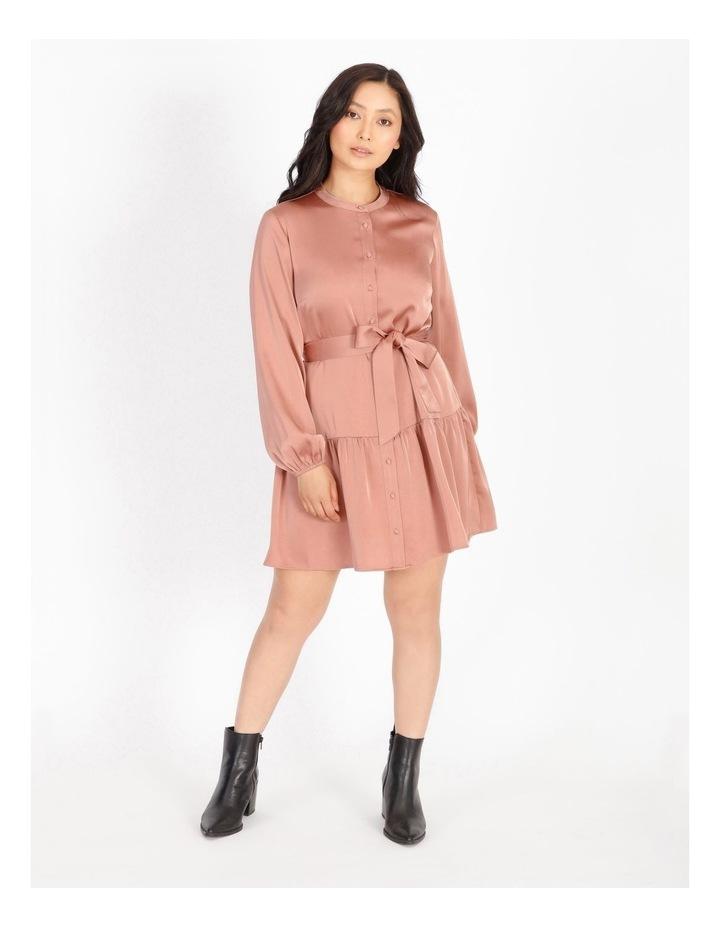 Petite Satin Mini Shirt Dress image 1
