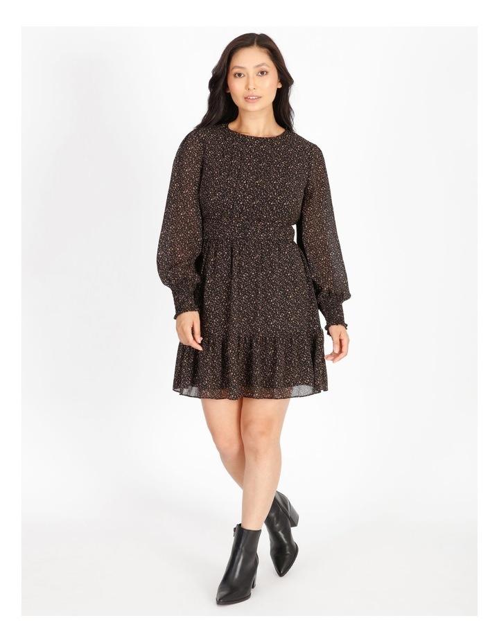 Petite Shirred Long Sleeve Mini Dress image 1