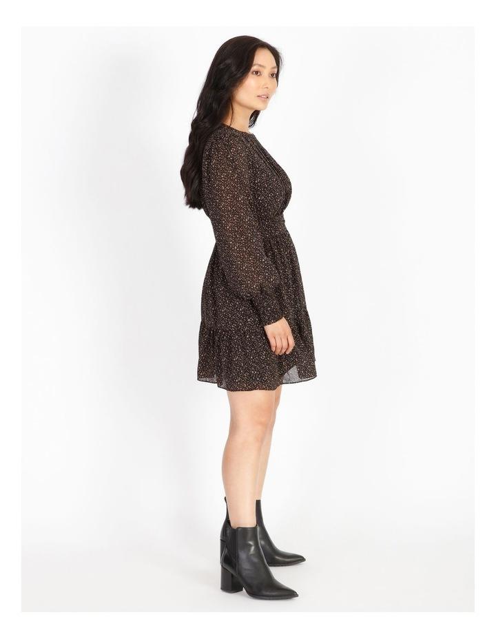 Petite Shirred Long Sleeve Mini Dress image 2