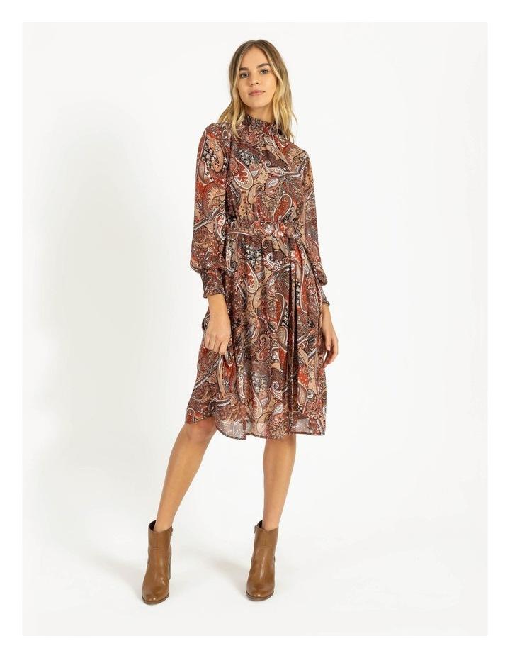 Petite High Neck Shirred Midi Dress image 1
