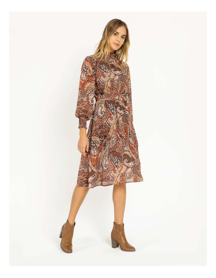 Petite High Neck Shirred Midi Dress image 2