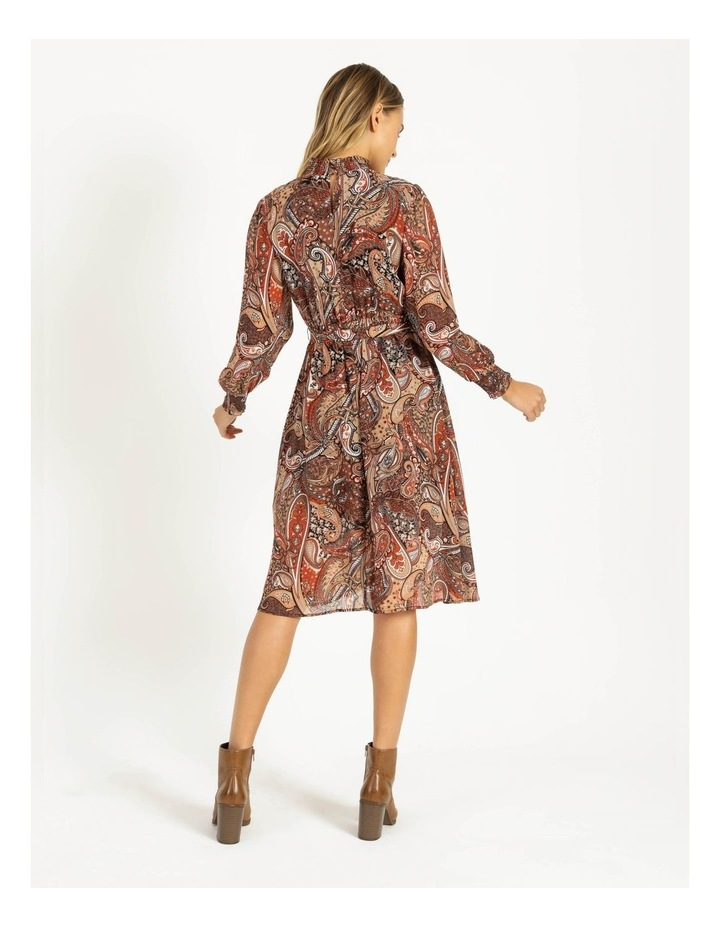 Petite High Neck Shirred Midi Dress image 3