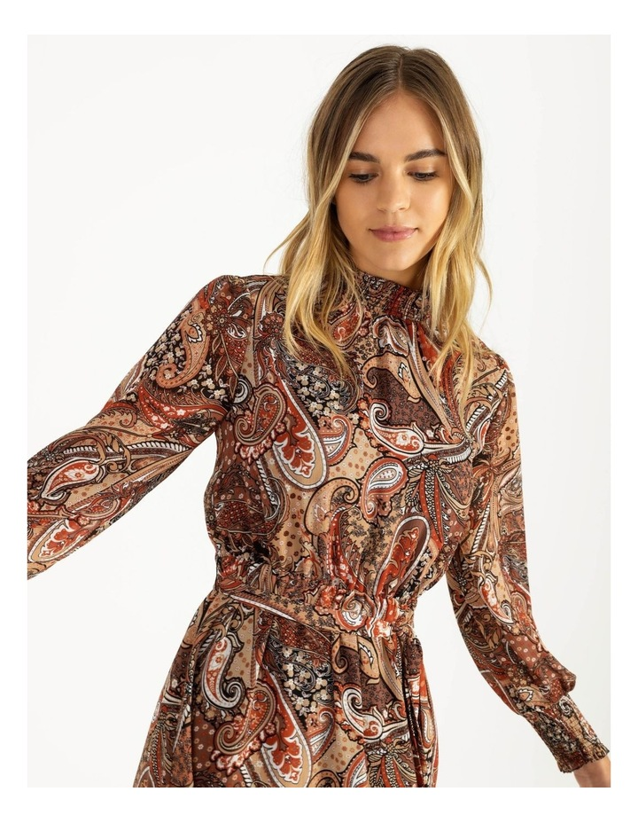 Petite High Neck Shirred Midi Dress image 4