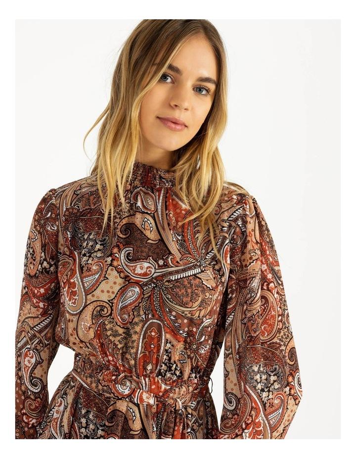 Petite High Neck Shirred Midi Dress image 5