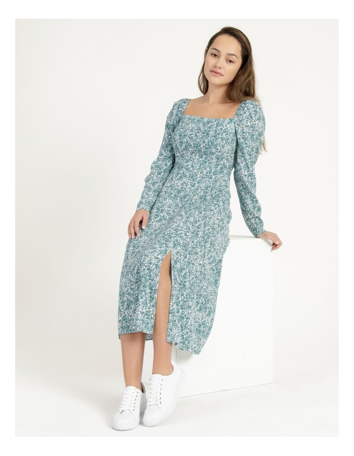 Petite Long Sleeve Puff Midi Dress image 1