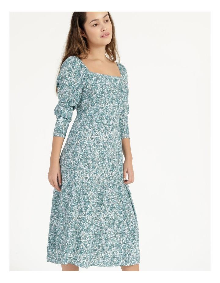 Petite Long Sleeve Puff Midi Dress image 2