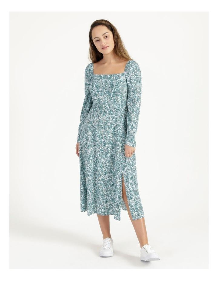 Petite Long Sleeve Puff Midi Dress image 3