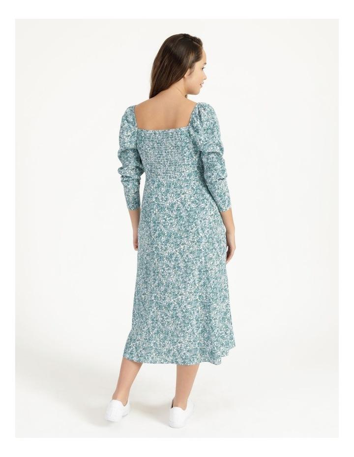 Petite Long Sleeve Puff Midi Dress image 4
