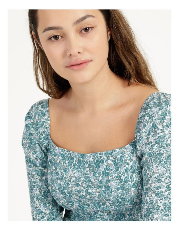 Petite Long Sleeve Puff Midi Dress image 5