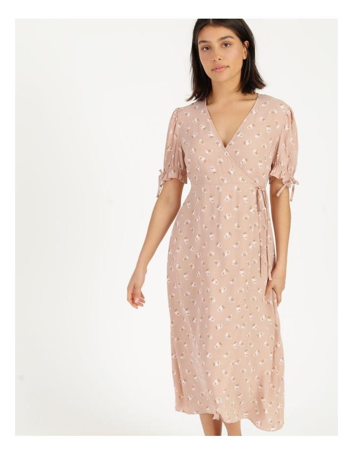 Puff Tie Sleeve Wrap Midi Dress image 1