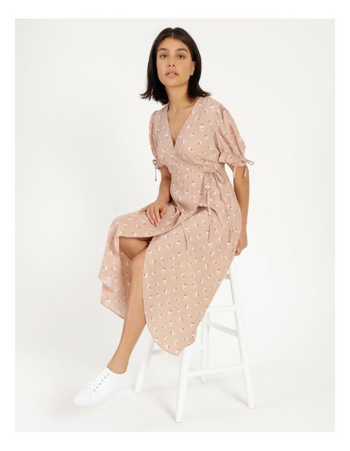 Puff Tie Sleeve Wrap Midi Dress image 2