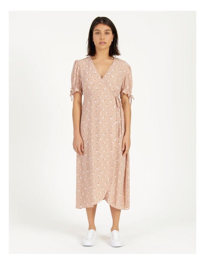 Puff Tie Sleeve Wrap Midi Dress image 3