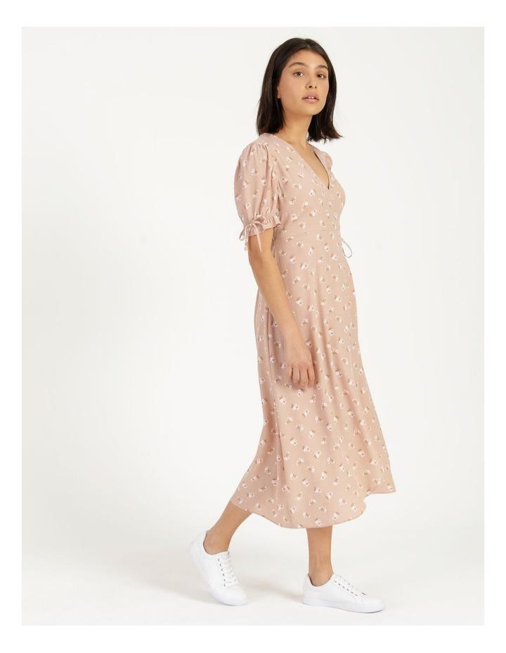 Puff Tie Sleeve Wrap Midi Dress image 4