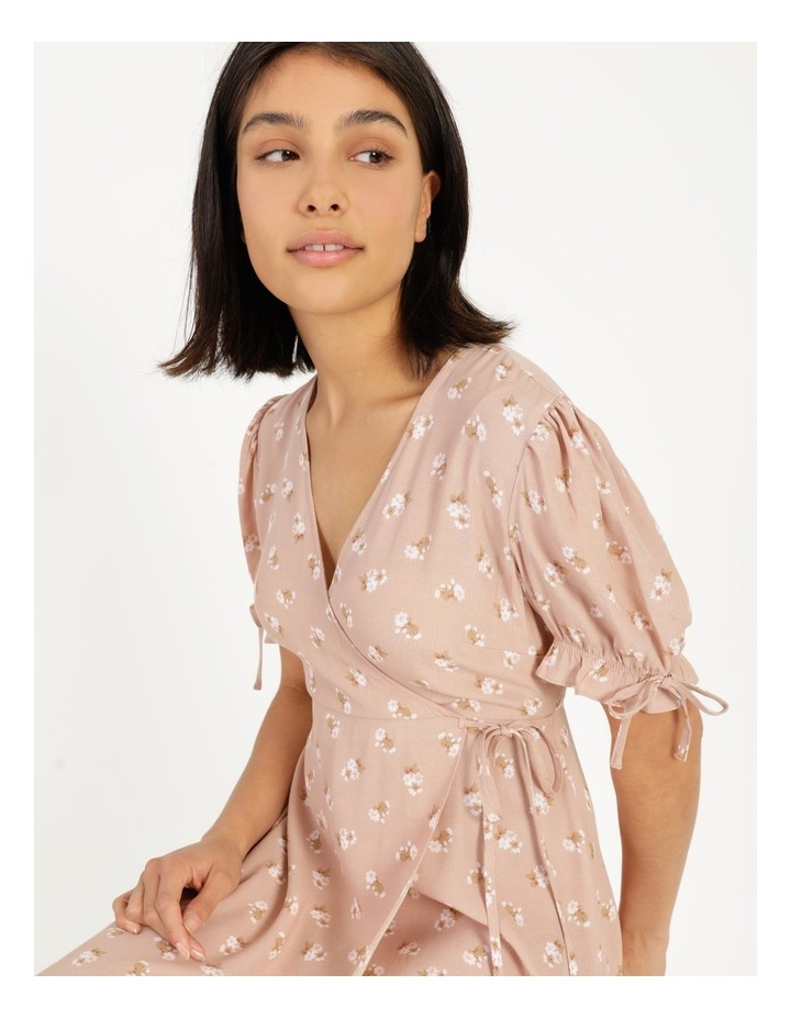 Puff Tie Sleeve Wrap Midi Dress image 6