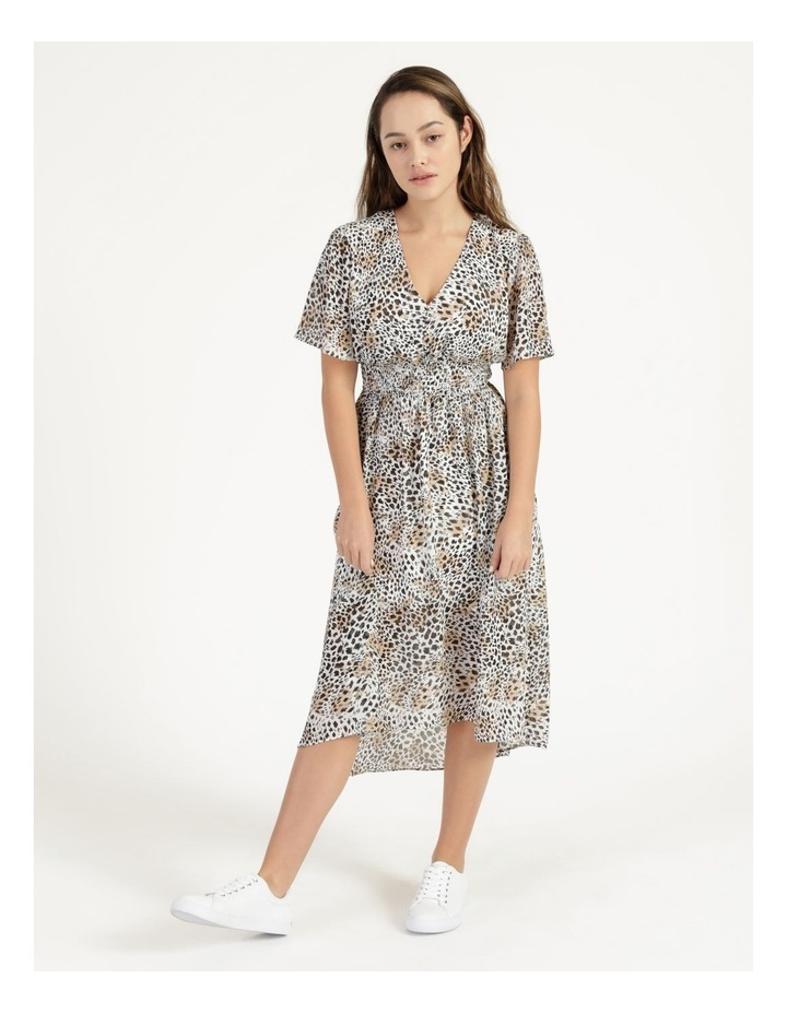 Flutter Sleeve Midi Dress Leopard Print image 2
