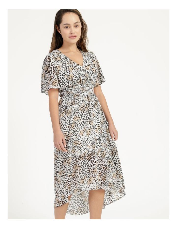 Flutter Sleeve Midi Dress Leopard Print image 3