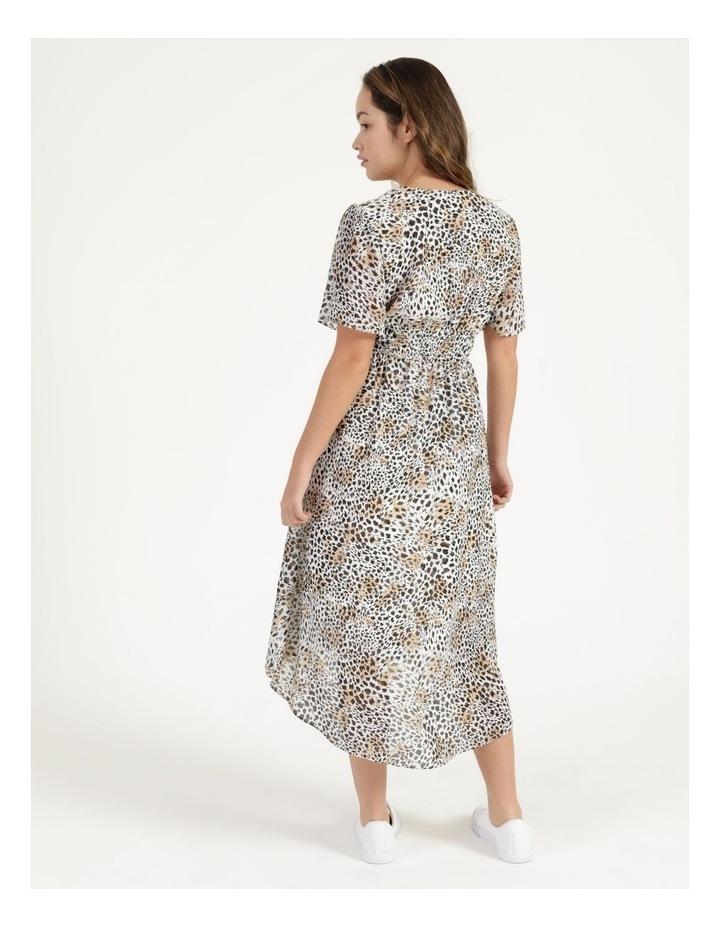 Flutter Sleeve Midi Dress Leopard Print image 4
