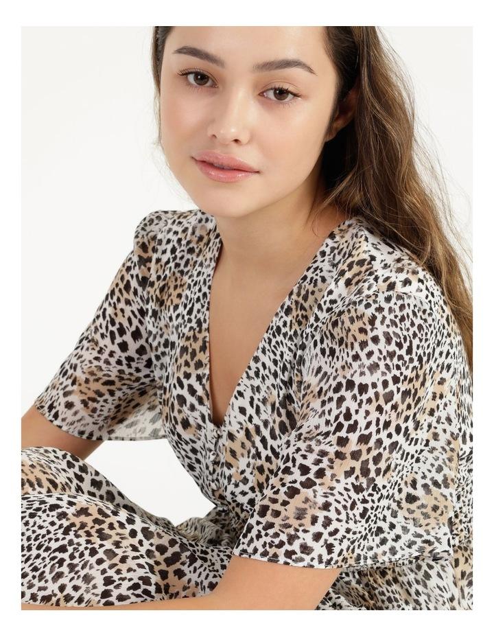 Flutter Sleeve Midi Dress Leopard Print image 5