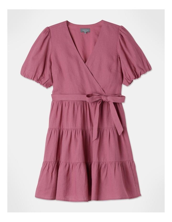 Petite Linen Blend Tiered Mini Dress Rose Wine image 1