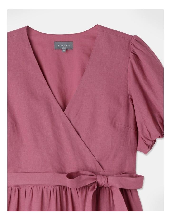 Petite Linen Blend Tiered Mini Dress Rose Wine image 2