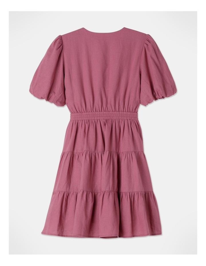 Petite Linen Blend Tiered Mini Dress Rose Wine image 3