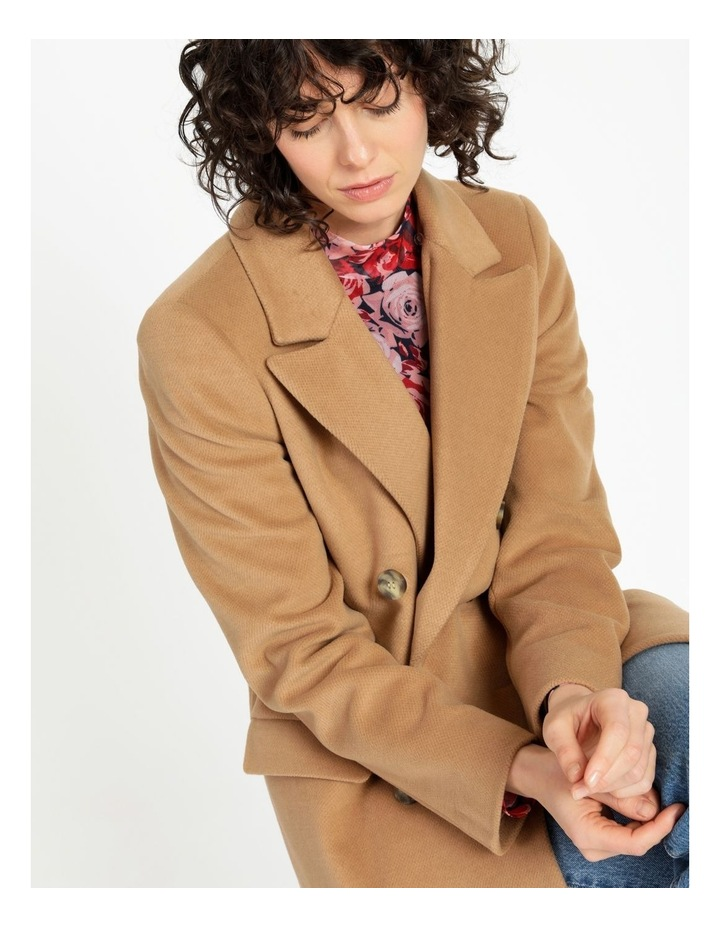 Camel Double Breasted Coat image 2