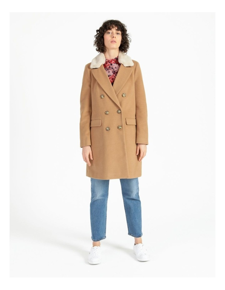 Camel Double Breasted Coat image 3