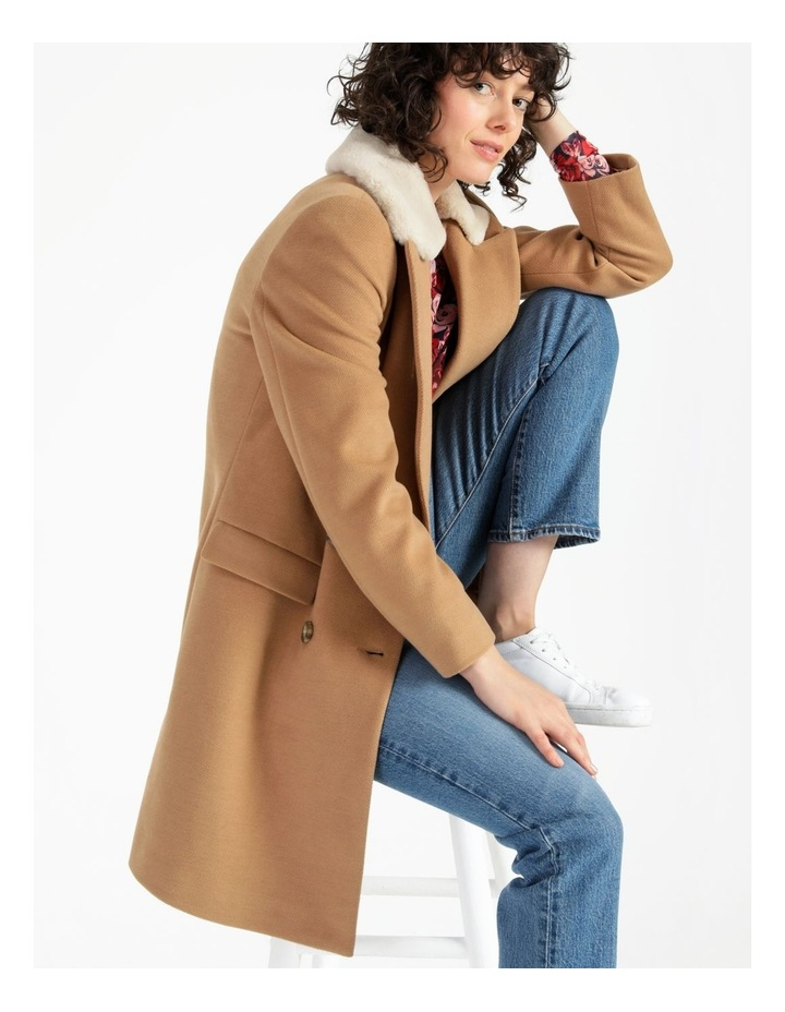 Camel Double Breasted Coat image 6