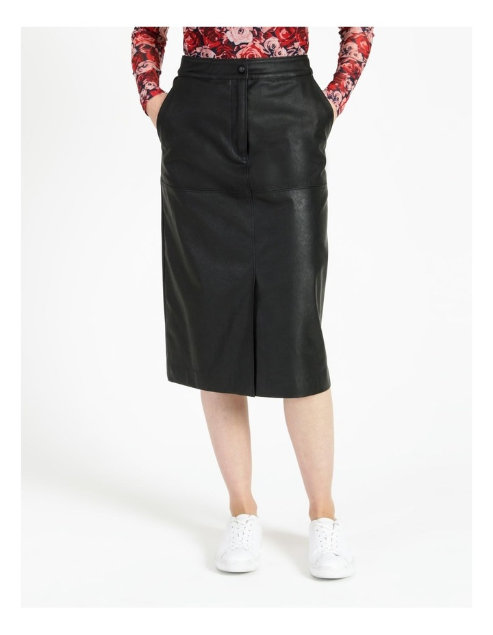 A-Line Faux Leather Midi Skirt image 1
